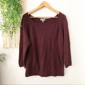 JOIE Burgundy Red 3/4 Sleeve 100% Cashmere Sweater